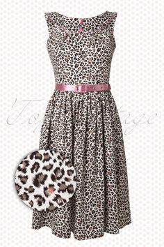 Vixen on TopVintage - 50s Leopard Dress White Pink