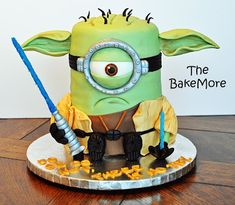 The Bake More: Grumpy Yoda Minion Cake 7th Birthday Cakes, Minion Birthday, Birthday For Him, Minions, Minion Cakes, Yoda Cake, Minion Characters, Movie Cakes, Black Fondant