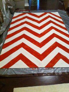 Handpainted chevron rug