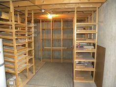 New Diy Kitchen Shelves Food Storage Root Cellar Ideas Food Storage Rooms, Food Storage Shelves, Pantry Storage, Storage Ideas, Kitchen Shelves, Diy Kitchen, Pantry Rack, Egg Storage, Storage Racks