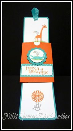 handmade card from My Sandbox ... slider card in open position ... great fun with images ... bird perched on other animals ... luv the pop the aqua and orange colors make ... great kid's birthday card ... Stampin'Up!