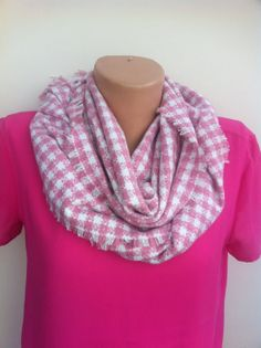 Pink White Women's long scarf Wool Blend Tweed by ScarfAngel, $19.00