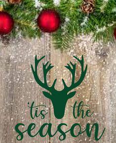 Tis the Season Vinyl Deer Wall Decal for Christmas and Holiday Vinyl Decor