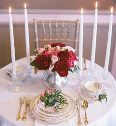 Turn your reception into a fairytale with these incredible table setting ideas. The center of attention, the Fairytale Rose Centerpieces, are the perfect stars of an insanely romantic show. Add glowing candles and beautiful dishes for a lovely setup.
