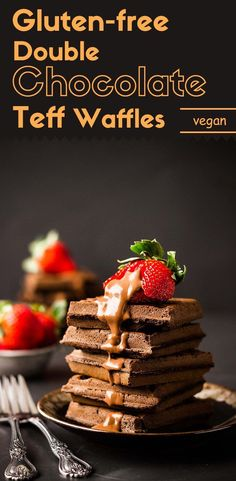 These gluten-free double chocolate teff waffles are light, crispy on the outside, and tender on the inside. No one will ever know they are both vegan and no added sugar. (#ad #Teffchef) via /lightorangebean/