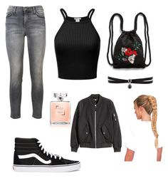 """Untitled #2"" by ipekttl on Polyvore featuring Current/Elliott, Vans, Monki and Fallon"