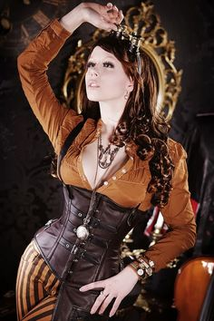Steampunk its more than an aesthetic style, it's the longing for the past that never was. In Steampunk Girls we display professional pictures, and illustrations of Steampunk, Dieselpunk and other anachronistic 'punks. Some cosplay too! Steampunk Cosplay, Steampunk Outfits, Steampunk Corset, Steampunk Clothing, Steampunk Fashion, Victorian Fashion, Gothic Fashion, Women's Fashion, Steampunk Female