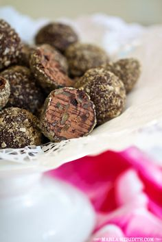 Skinny Dark Chocolate Trail Mix Truffles | recipe on FamilyFreshCooking.com #Paleo #skinny #darkchocolate #trailmix #truffles