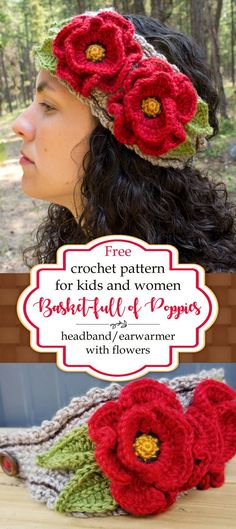 Basket-full of Poppies Free Crochet Headband Pattern with Flowers and Leaves - Kirsten Holloway Designs Crochet Flower Headbands, Crochet Flower Patterns, Crochet Flowers, Free Crochet Headband Patterns, Knitted Poppy Free Pattern, Knit Headband, Crochet Designs, Baby Headbands, Crochet Ideas
