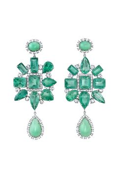 Irene Neuwirth's 18-karat white gold earrings set with 64.32 carats of emeralds, 4.76 carats of rose-cut diamonds and mint chrysoprase.