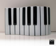 Piano Keys Fused Glass  Wave Plate by RoxCreations on Etsy, $35.00