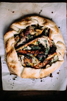 For a twist on a traditional pie, try a galette. It is more rustic and free form, and a savory version like this Winter Vegetable & Gorgonzola Galette makes for a great dinner (from happyolks.com)