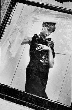 Jean Shrimpton holding a cat ~ Brian Duffy, 1961 Jean Shrimpton, Brian Duffy, David Bailey, Swinging London, Portrait Photography, Fashion Photography, Retro Photography, Artistic Photography, White Photography