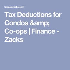 Tax Deductions for Condos & Co-ops | Finance - Zacks