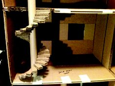 How to make dollhouse spiral stairs from cardboard.
