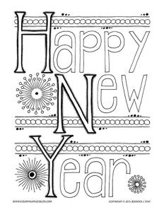 coloring page for adults with cute details to color and the words happy new year for - New Years Coloring Pages