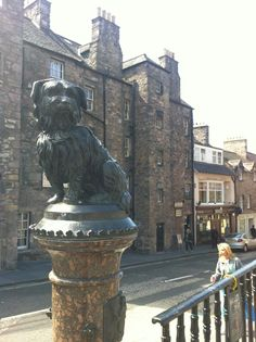 This is Greyfriars Bobby in Edinburgh, a famous dog that waited by his masters grave for years after his death.
