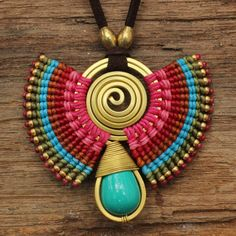 Lovely idea for the summertime. (Tribal necklace with waxed cotton weaving and brass highlights and turquoise gemstone) Macrame Earrings, Macrame Jewelry, Wire Jewelry, Jewelry Crafts, Handmade Jewelry, Gemstone Jewelry, Jewellery, Tribal Necklace, Tribal Jewelry
