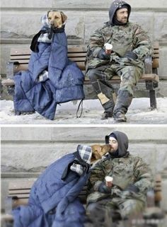 Homeless man and a dog - Love and caring know no boundaries. I Love Dogs, Puppy Love, Cute Dogs, Animals And Pets, Funny Animals, Cute Animals, Homeless Dogs, Homeless People, Military Dogs