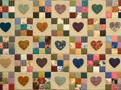 Amish Quilt, hearts and ninepatches, appliqué and pieced