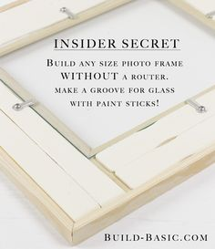 Turn any molding into a picture frame (complete with inset glass!) using paint sticks! Just glue paint sticks to the back of the trim to create a groove for the glass to drop into! See more building tips and tutorials from @BuildBasic at www.build-basic.com! #BuildBasic #Woodworking #DIY #FreePlans