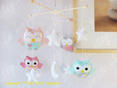 Baby Mobile - Owl Mobile - Nursery Mobile - Soft Pink Gray Turquoise Owls in a White starry night (You can pick your colors)