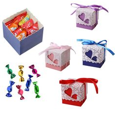 20//50pcs Candy Box Paper Gift Boxes Ribbon Wedding Party Favors Bags Decoration