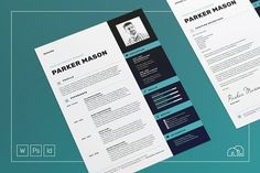 Resume/CV - Parker by bilmaw creative on / Professional Resume / CV / Cover letter / Template / Word / Photoshop / InDesign Cover Letter Template, Cv Template, Letter Templates, Resume Templates, Resume Cv, Resume Design, Cv Design, Design Ideas, Design Inspiration