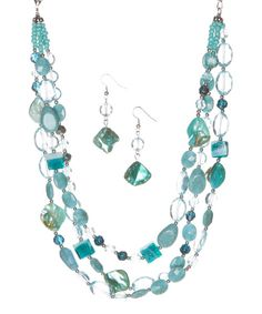 Take a look at the Turquoise & Blue Shell Bead Necklace & Drop Earrings on #zulily today!