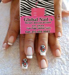 Uñas boda French Tip Nails, Finger Painting, Nail Decorations, Fabulous Nails, Almond Nails, Cute Nails, Pedicure, Hair And Nails, Nail Art Designs