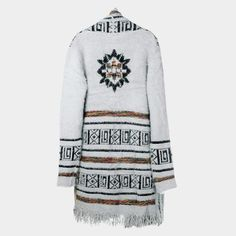 Aztec Long Cardigan Fringe Sweater - Grey - Dempsey & Gazelle  - 1