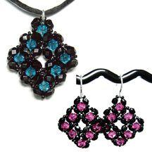 Diamond Crystal Earrings & Pendant