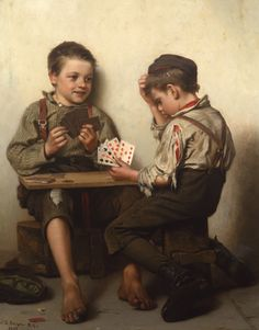 Bluffing (1885) by John George Brown. Victorian era painting of two poor boys player a card game. Poker perhaps.