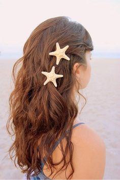 starfish. alternative to flower for a beach wedding! bridal hair