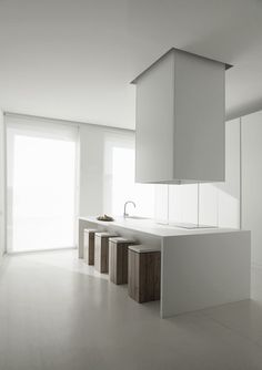 Interior #design ideas: #beautiful minimalistic #kitchen space, white +!wood, this kitchen inspires me to cook!
