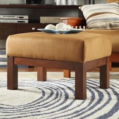 TRIBECCA HOME Hills Mission Oak and Rust Ottoman - Overstock™ Shopping - Great Deals on Tribecca Home Ottomans