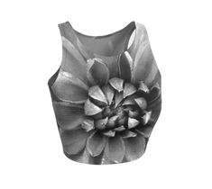 This stylish cropped top features beautiful textures in dark shades. This macro image of a dahlia includes neutrals ranging from medium gray to black. Use it for your next workout, yoga, and swimming. Style it with overalls for festival wear or layer it under a blouse. #Floral #Floralprint #Athletic #Cropped #Top, #Dahlia #Nature #Black For #Yoga #Exercise #Gym #Running #Fitness, #Festival #FestivalFashion, #Sportswear #womens by WhimZingers on #Etsy #etsyseller #etsyshop #smallbusiness