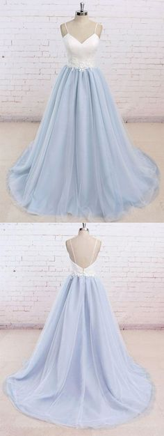 Simple Spaghetti Straps Prom Dress, Sweetheart Long Prom Dress, Light Blue Backless Prom Dress