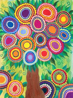 Kerri Ambrosino Art NEEDLEPOINT Mexican Folk Art Tree of Life Bright Green Happy Flowers on Etsy, $22.99