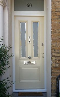Victorian front door in ivory and polished chrome hardware. Victorian front door in ivory and polished chrome hardware. Victorian front door in ivory and polished chrome hardware. Victorian front door in ivory and polished chrome hardware. Front Door Canopy, Front Door Porch, Exterior Front Doors, House Front Door, Glass Front Door, Sliding Glass Door, Entry Doors, Front Porches, Glass Doors