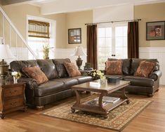 truffle color rustic living room wnailhead deatils love