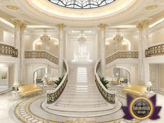 Dubai Interior Design Gallery by Luxury Antonovich Design Mansion Interior, Luxury Homes Interior, Luxury Home Decor, Luxury Staircase, Staircase Design, Grand Staircase, Luxury Homes Dream Houses, Luxury House Plans, Dream Home Design
