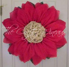 "Extra Large Burlap Sunflower Wreath, 30"" Fuchsia Sunflower, Spring Wreath, Summer Wreath, Customizable Wreath, Trendy Pink Sunflower Wreath - pinned by http://pin4etsy.com"