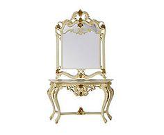 Consolle in mogano e marmo con specchio Patricia - 126x81x47 cm