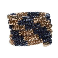 Natasha Mesh Coil Memory Wire Bracelet   from Von Maur #VonMaur #StyleCorner #CoilBracelet #Black #Gold