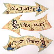giant alice in wonderland props | Alice in Wonderland Party Arrow signs / Mad Hatters Tea Party Props ...
