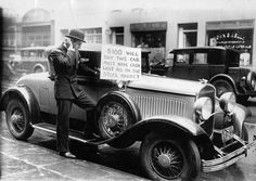 """""""Walter Thornton tries to sell his luxury roadster after the Stock Market Crash, New York City, October 1929″    - Museum Syndicate"""