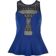 River Island Blue crochet panel peplum top ($15) ❤ liked on Polyvore featuring tops, sleeveless tops, blue sleeveless top, river island, blue top and crochet sleeveless top