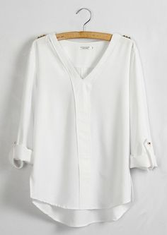 White Plain Epaulet V-neck Long Sleeve Chiffon Blouse
