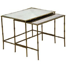 Vintage Brass and Mirror Nesting Tables in the Style of Desinger Maison Baguès   1stdibs.com